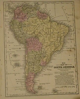 Antique Original 1849 Map of South America by S. Augustus Mitchell
