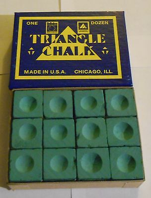 12 Cubes of Green Triangle Chalk Pool Snooker Cues NEW