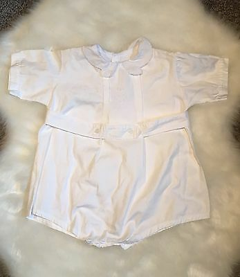 Vintage Toddler Baby Romper~Shortall~White~Cotton~Embroidery~Boy~Girl~Darling!
