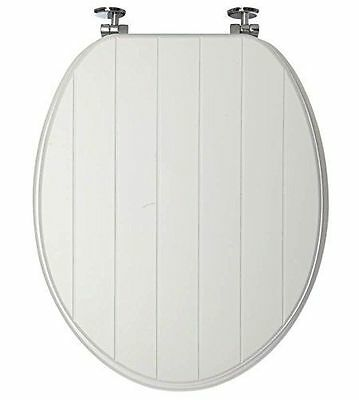 White Tongue And Groove Toilet Seat Wood Wooden Strong Chrome Plated Hinges New