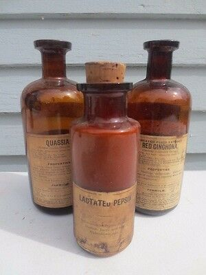3 Antique Medicine Bottles Labels Part Contents.
