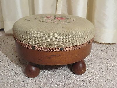 Antique Small Muffin Floral Needlepoint Foot Stool