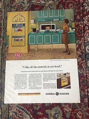 """1963 General Electric Vintage Ad """"Controls At Eye Level"""" Ad Print"""