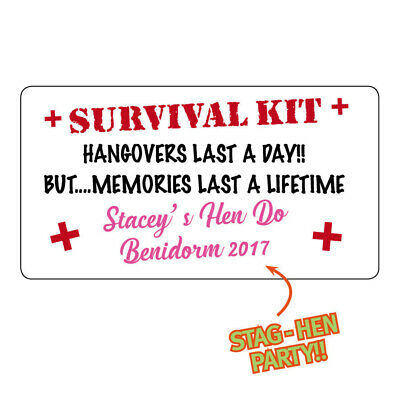 20 x LARGE SURVIVAL KIT PERSONALISED HEN PARTY STAG NIGHT STICKERS DRUNK -686