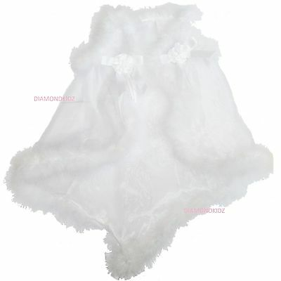 Baby Girls Christening Dress White 3 Piece Maribou Fur Outfit STUNNING Last one!