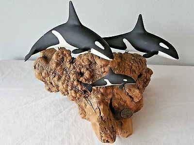 Vintage JOHN PERRY KILLER WHALE FAMILY 3 ORCAS on Driftwood Burl Sculpture Wood