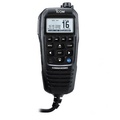 Icom Commandmic Iv With White Backlit Lcd In Black [Hm195Gb]