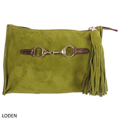 Rebecca Ray Suede Snaffle Bit Clutch - Black, Chocolate, Loden or Lilac
