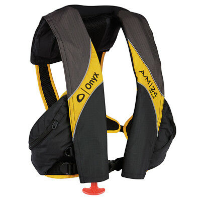 Onyx A/M 24 Deluxe Inflatable Life Jacket Carbon/Yellow [132100-701-004-15]