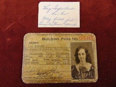 1943 ID Card SOUTHWESTERN BELL TELEPHONE Long Distance Operator OKLAHOMA CITY