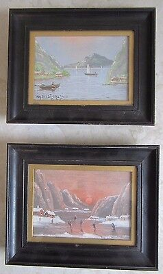 Nils Christiansen Danish Pair Of Oil paintings Moonlit Skating And Sailing Scene