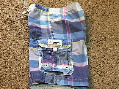 Boys Youth Abercrombie Kids Plaid Cargo Swim Board Shorts Trunks Size Large