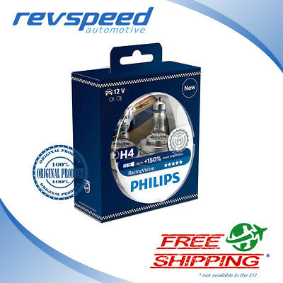 PHILIPS H4 Halogen Bulbs RacingVision +150% More Light Set of 2 bulbs 12342RVS2