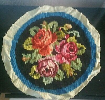Vintage Completed Handmade Tapestry Needlepoint Chair Round  Seat Cover Floral