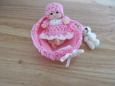 OOAK artist   miniature  Jointed  BABY DOLL  5cm  polymer  clay & crib  by HARRY