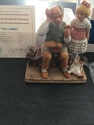 """Authentic Vintage 1979 Norman Rockwell """"The Cobbler"""" Figure New In Box RARE"""