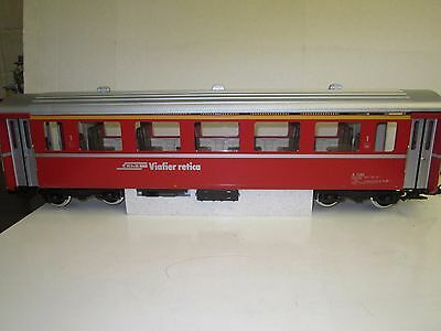 LGB G #34670 RhB Viafier retica Passenger Car 1st Class Lighted Interior (Red)