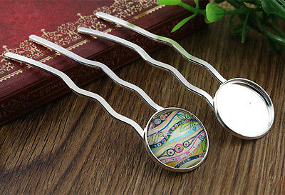 5pcs Bright Silver Plated Hairpins with 20mm Cabochon Setting
