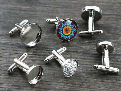 Rhodium Plated Cufflink Blanks | 12mm or 16mm Settings | 10pcs