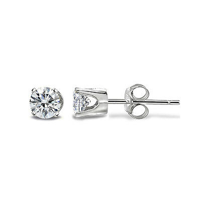 1/8 Ct Round Diamond 14K White Gold Tiny Stud Earrings, H-I, I2-I3