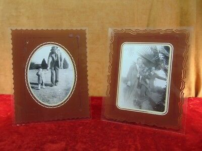 Two ART DECO 1930s GLASS FRAMES Reverse Painted 8x10 for 5x7 Prints EASEL BACK