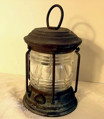 Vintage Copper/Brass ? Nautical Ships Marine Lantern  Electric Lamp