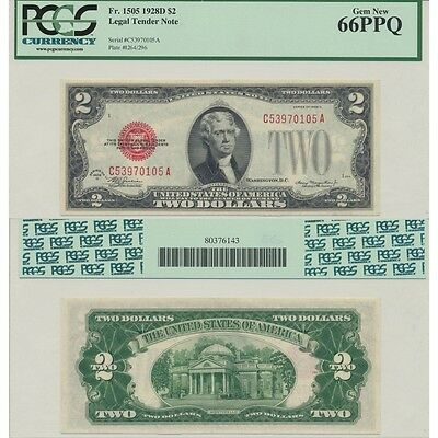 1928D $2 Legal Tender Note Fr#1505 PCGS Currency Gem New 66 PPQ