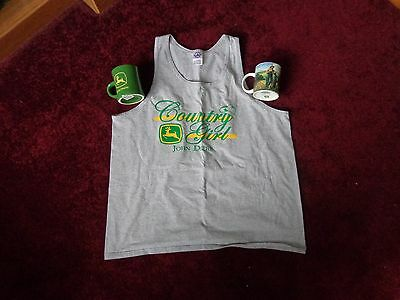 JOHN DEERE XL Country Girl gray sleeveless tank top + 2 collectible coffee cups