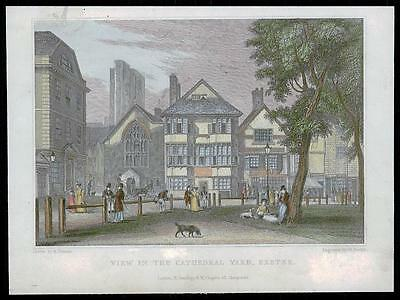 c1829 DEVON - Original Antique Engraving VIEW IN THE CATHEDRAL YARD EXETER (26)