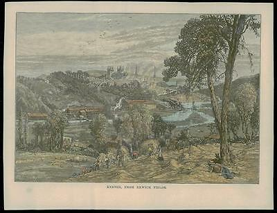 c1890 DEVON - Original Antique Print View of EXETER FROM EXWICK FIELDS (04)