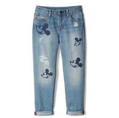 New Girls 7 10 12 14 Gap Kids Disney Mickey Mouse Embroidered Girlfriend Jeans