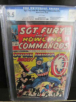 Sgt Fury #13 CGC 8.5 WHITE pgs Beauty 1st Nick Fury and Cap America Bucky