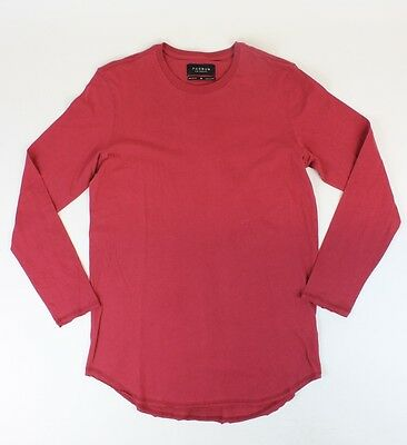 Pac-Sun Mens Scallop Fit L/S T-Shirt Red Medium M New