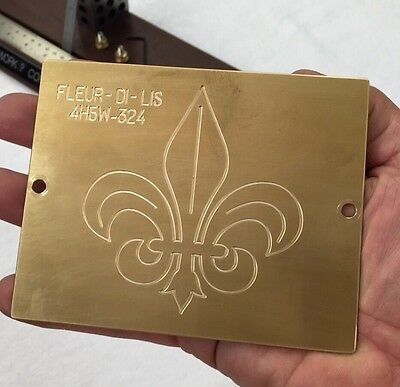 Large Fleur Di Lis Brass Master Template  For New Hermes Engraver Solid Brass