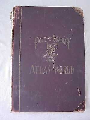 Antique 1894 Potter Bradley Atlas Of The World / Detroit Real Estate Advertising