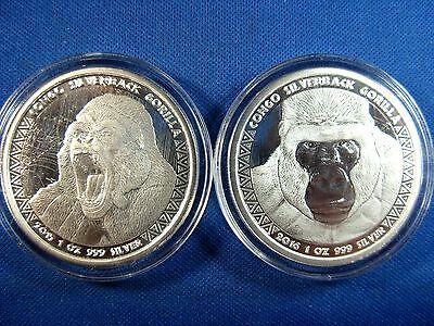 Gorilla (Congo Silverbacks)- {2 Coin Set}- 2015-2016- .999 Silver-- Proof Like