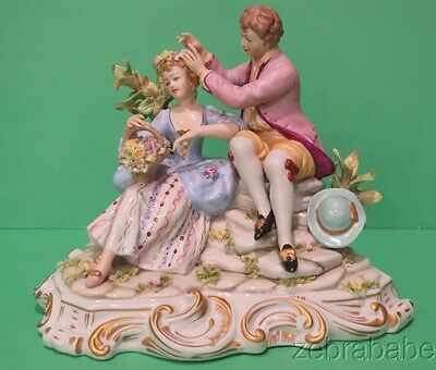 Vintage Capodimonte Courting Couple Well Dressed Floral Wreath