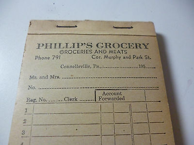 Phillip's Grocery & Meat Store Connellsville PA Unused Vintage 1950s Receipt Pad