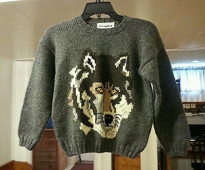 Molly Goggles 100% Virgin Wool Hand knit  Wolf Sweater Youth Size 8-10