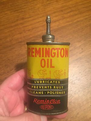 VERY SCARCE DUPONT REMINGTON SMALL OIL OILER CAN 3oz with lead top