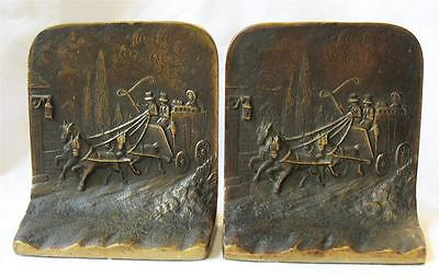 Vintage Pair Solid Bronze Bookends Horses Carriage Coach Scene