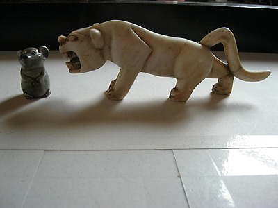 """Vintage  Carved Stone Tiger. Very Bold. Great Condition 8 """""""