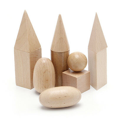 Learning Resources Wood Geometric Solids Set Of 10 Smooth Solid Shapes New