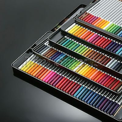 Water Soluble Non-toxic Pencils+Brush Metal Box Drawing Sketch 24/36/48/72Color