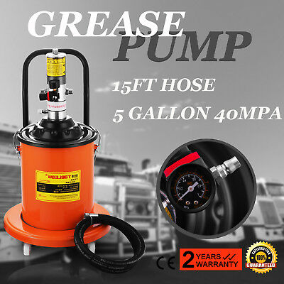 5 Gallons Air Operated High Pressure Grease Pump With 15FT Hose