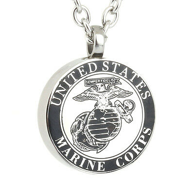 US Marine Corps USMC Veteran Cremation American Patriotic Necklace Jewelry Urn