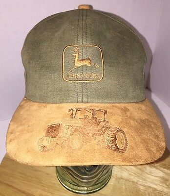 Vintage JOHN DEERE Olive Green Brown Suede Hat Crap Tractor Graphic on BILL USA