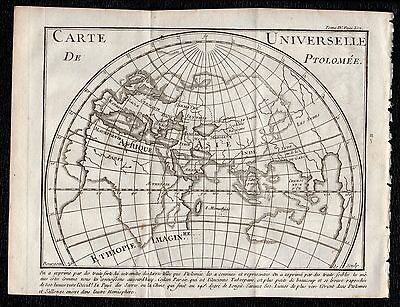 1739 Pluche Antique Engraving: PTOLEMY'S UNIVERSAL MAP, HISTORY, GEOGRAPHY