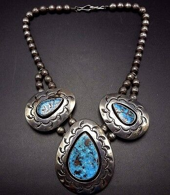 Vintage NAVAJO Hand Stamped Sterling Silver TURQUOISE Shadowbox NECKLACE Choker