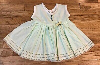 Vintage Baby Girl 12M 24M Mint Green twirly dress Spring
